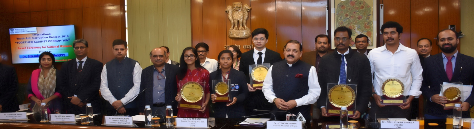 Honorable MOS(PP) Dr. Jitendra Singh presided over - Award distribution ceremony for National  winners of International Youth Anti Corruption Contest 2019 Together Against Corruption