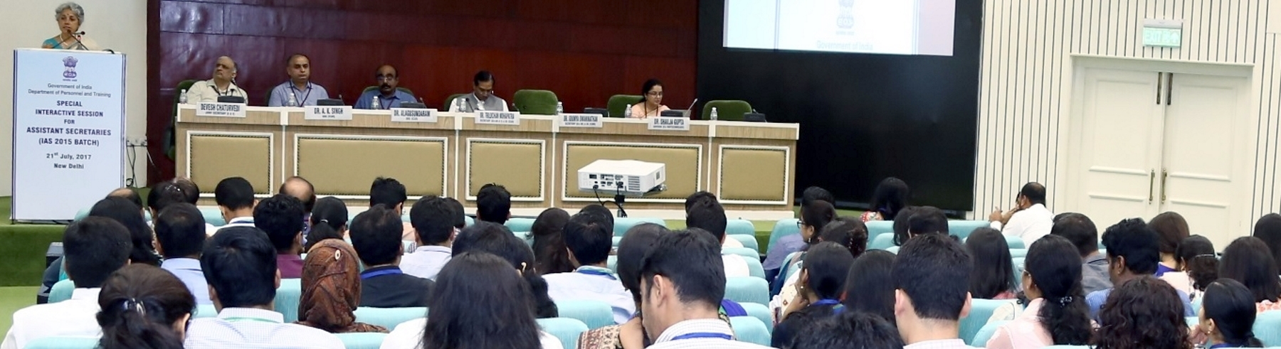 Ms. Soumya Swaminathan, Secretary (D/o Health Research) & DG (ICMR) interacting with the Assistant Secretaries (IAS officers of 2015 batch) in an interactive session held on 21.07.2017 at Vigyan Bhawan, New Delhi